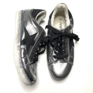 ANNA Silver and Black Star Sneakers